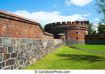 militaire, kaliningrad, vieux, fortification.