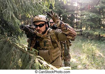 militaire, opération, conduite