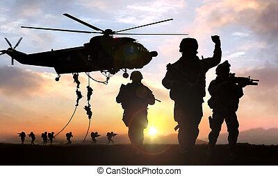 militaire, opération, silhouette, coucher soleil