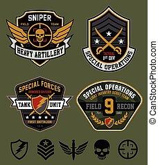 militaire, ops, ensemble, spécial, pièce