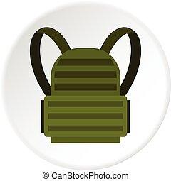 militaire, sac à dos, cercle, icône