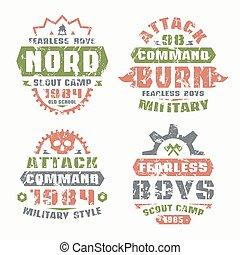 militaire, scout, insignes