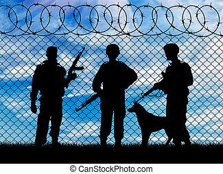 militaire, silhouette, chien