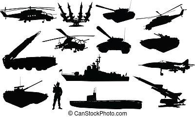 militaire, silhouettes, ensemble