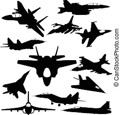 militaire, silhouettes, jet-fighter