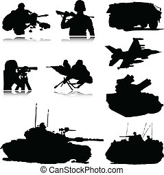 militaire, silhouettes, vecteur