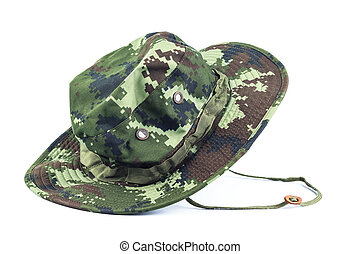 militaire, style, hat.