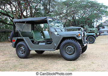 militaire, thailand's, voiture, arpenteur