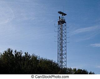 militaire, tour, communication, radar