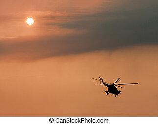 militaire, ukrainien, vol, hélicoptère
