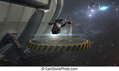 militaire, vaisseau spatial, bourdons