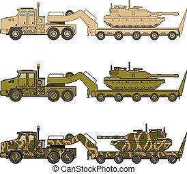 militaire, vecteur, traction, camion, réservoir