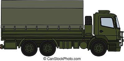 militaire, vert, camion