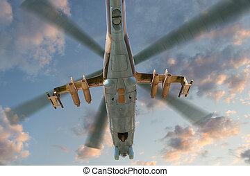 militaire, vol, hélicoptère