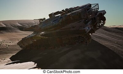 Militairy tanks destructed in the desert at sunset