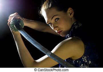 sword - militant girl with sword in her hands