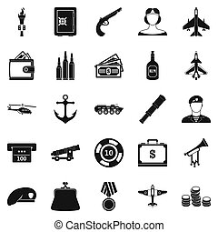 Militant icons set, simple style