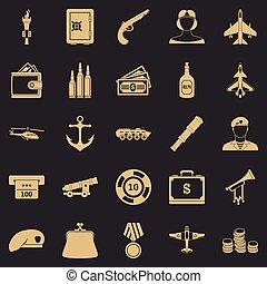 militante, conjunto, estilo, iconos simples