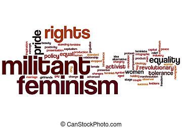 militante, feminismo, palavra, nuvem