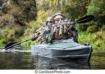 militants, alatt, hadsereg, kajak