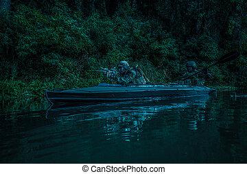 militants, em, exército, kayak