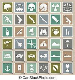 militar, ícones, adesivo, jogo