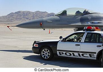 militar, aeronave lutador, carro polícia, chão, exposição