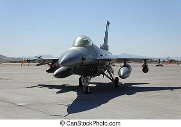 militar, aeronave lutador, chão, exposição