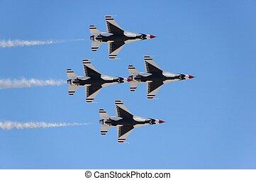 militar, aeronave lutador, vôo, demonstração