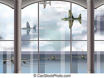 militar, aeroporto, aviões