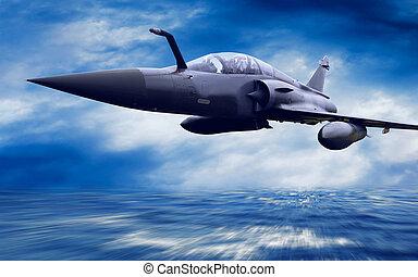militar, airplan, en, el, velocidad