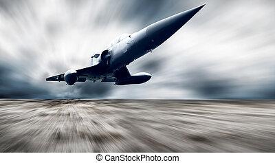 militar, airplan, ligado, a, velocidade