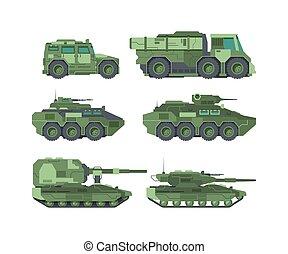 militar, apartamento, tipos, ilustrações, carros, jogo, ...