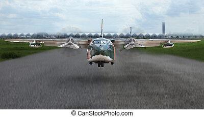 militar, avião, descolagem, de, pista decolagem