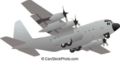militar, avión, transporte, carga