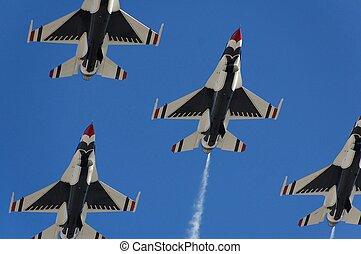 militar, aviónes caza, vuelo, demostración