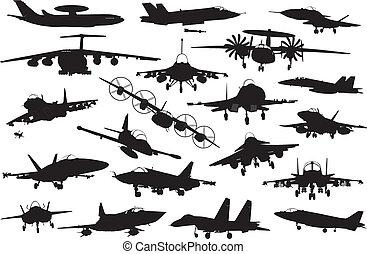 militar, aviones, conjunto