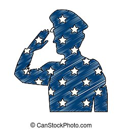 militar, bandeira, silueta, eua, saudando