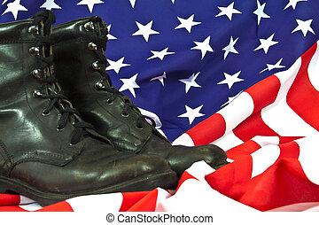militar, bandera estadounidense, botas