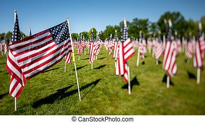 militar, banderas, en el parque, soplar en el viento