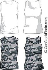 militar, blanco, vector, camisas, template.