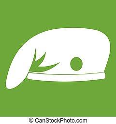 militar, boné, verde, ícone