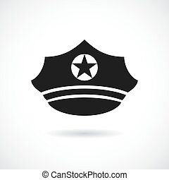 militar, boné, vetorial, ícone