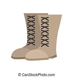 militar, botas, beige, isolated., ejército, shoes, blanco, fondo., soldados, calzado