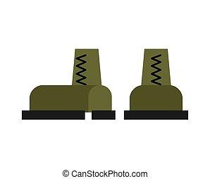 militar, botas, isolated., ejército, shoes., soldados, accesorio