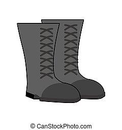 militar, botas, negro, isolated., ejército, shoes, blanco, fondo., soldados, calzado