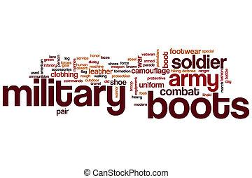 militar, botas, palabra, nube