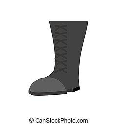 militar, botas, pretas, isolated., exército, sapatos, branco, experiência., soldados, calçado