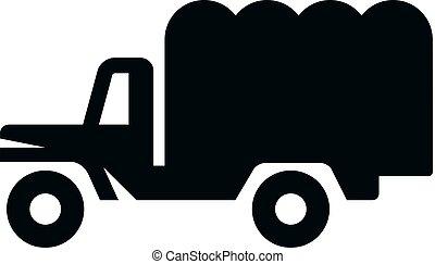 militar, bw, -, caminhão, ícones