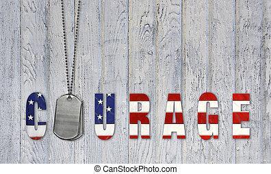 militar, cão, etiquetas, com, bandeira, coragem